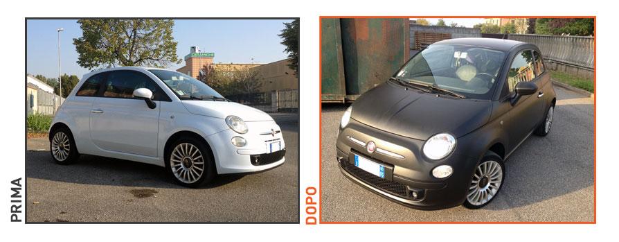 Decorazione Fiat 500 con pellicola nero opaca