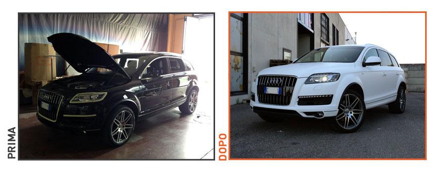 Decorazione Audi Q7 con pellicola bianco opaco